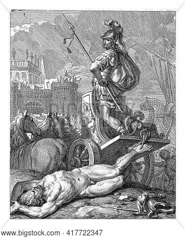 Achilles standing on his chariot, seen from behind. Behind the wagon is Hector's body. In the background left the city wall of Troy