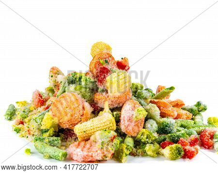 Fresh Frozen Vegetables On A White Plate. Freezing Vegetables And Fruits. Freshly Frozen Foods. Vege