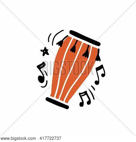 Minimalist Vector Illustration Of Traditional African Percussion Instrument Called Bongo Drum Hand D