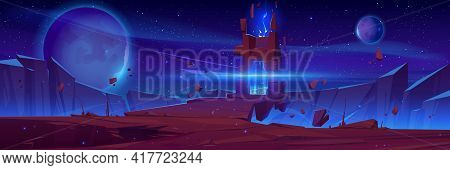 Magic Portal On Alien Planet, Space Landscape, Night Fantasy Scene With Rocks, Stone Doorway With Pl