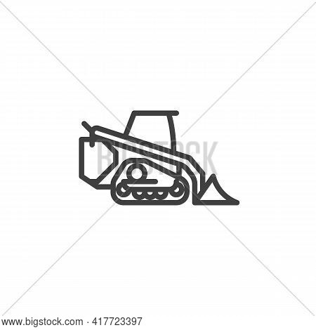 Mini Excavator Line Icon. Linear Style Sign For Mobile Concept And Web Design. Excavator Loader Outl