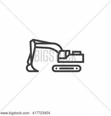 Backhoe Loader Line Icon. Linear Style Sign For Mobile Concept And Web Design. Digger, Excavator Out
