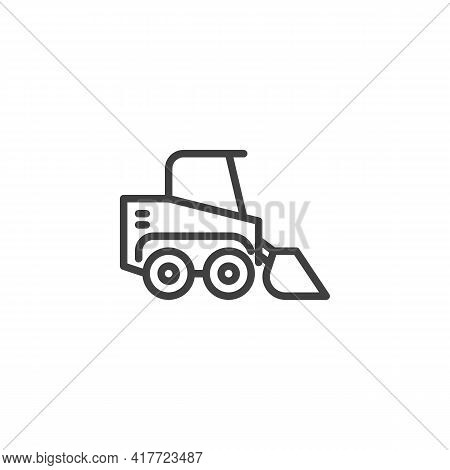 Loader Truck Line Icon. Linear Style Sign For Mobile Concept And Web Design. Construction Excavator