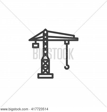 Tower Crane Line Icon. Linear Style Sign For Mobile Concept And Web Design. Building Crane Outline V