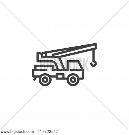 Mobile Crane Line Icon. Linear Style Sign For Mobile Concept And Web Design. Crane Machine Outline V