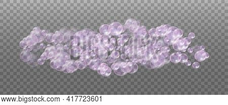 Realistic Pink Soap Foam. Bubbles Of Soapy Water. Isolated On A Transparent Background.
