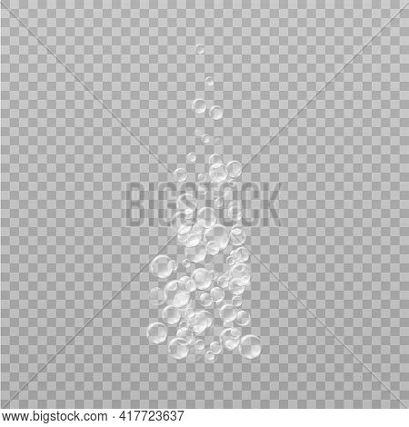 Realistic Fizzy Transparent Soap Foam. Bubbles Of Soapy Water. On A Transparent Background.