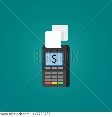 Pay Pos Terminal For Business Color Icon. Payment Machine Concept. Trendy Flat Isolated Symbol, Sign