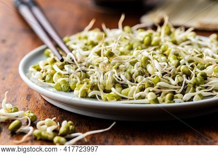 Sprouted green mung beans. Mung sprouts on plate on wooden table.