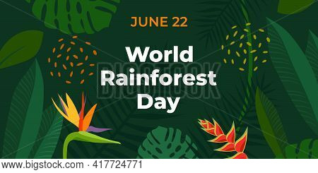World Rainforest Day. Vector Banner For Social Media, Card, Poster. Illustration With Text World Rai