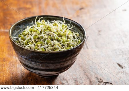 Sprouted green mung beans. Mung sprouts in bowl on wooden table.