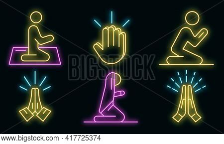 Prayer Icons Set. Outline Set Of Prayer Vector Icons Neon Color On White