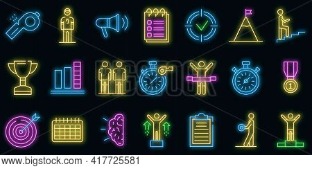 Coach Icons Set. Outline Set Of Coach Vector Icons Neon Color On White