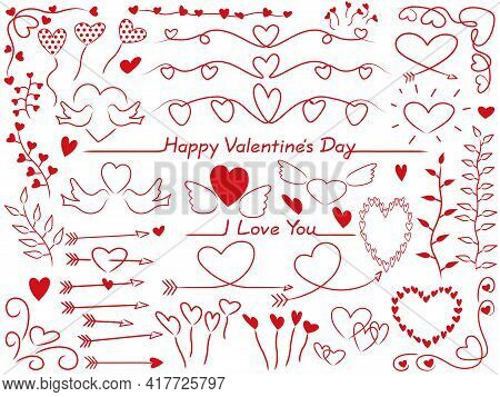 Set Of Vector Red Graphic Elements For Valentine's Day, Bridal, And Wedding. Easy To Use Illustratio