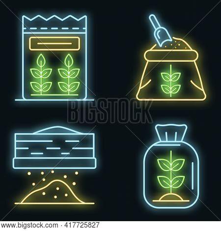 Flour Icons Set. Outline Set Of Flour Vector Icons Neon Color On White