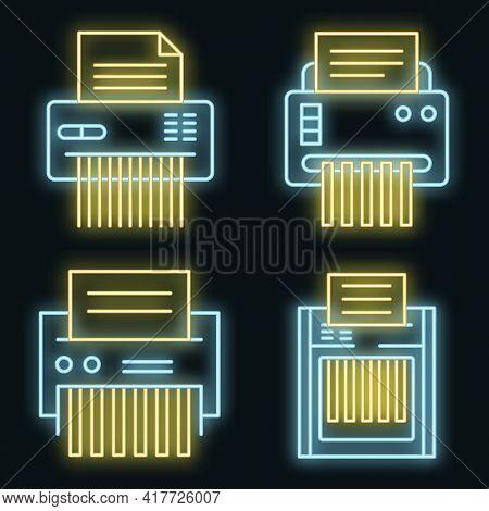 Shredder Icons Set. Outline Set Of Shredder Vector Icons Neon Color On Black