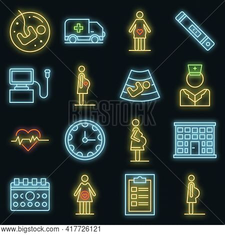 Pregnant Icons Set. Outline Set Of Pregnant Vector Icons Neon Color On Black
