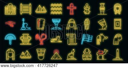 Egypt Icons Set. Outline Set Of Egypt Vector Icons Neon Color On Black