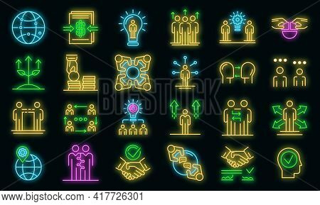 Business Cooperation Icons Set. Outline Set Of Business Cooperation Vector Icons Neon Color On Black