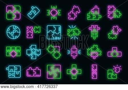 Jigsaw Icons Set. Outline Set Of Jigsaw Vector Icons Neon Color On Black