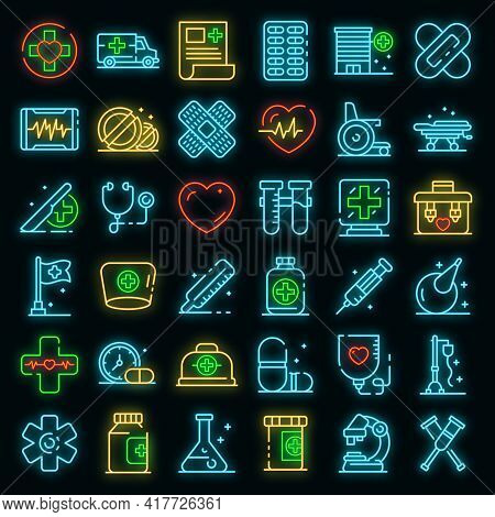 First Medical Aid Icons Set. Outline Set Of First Medical Aid Vector Icons Neon Color On Black