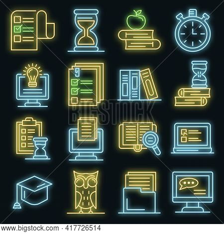 Preparation For Exams Set. Outline Set Of Preparation For Exams Vector Icons Neon Color On Black