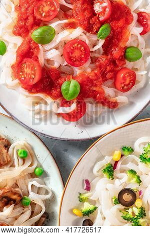Konjac Pasta Dishes With Vegetables Close-up, Low-calorie Diet