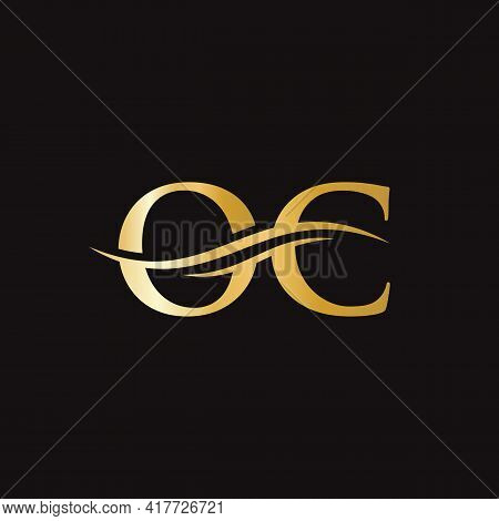 Water Wave Oc Logo Vector. Swoosh Letter Oc Logo Design For Business And Company Identity.