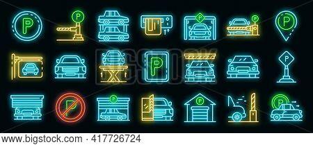 Underground Parking Icons Set. Outline Set Of Underground Parking Vector Icons Neon Color On Black