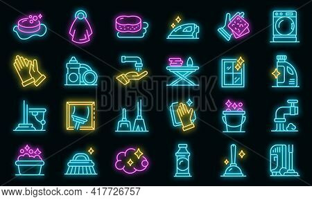 Housekeeping Icons Set. Outline Set Of Housekeeping Vector Icons Neon Color On Black