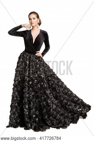 Fashion Woman In Black Dress, Elegant Beautiful Model In Long Evening Gown Over Cut Out White Backgr