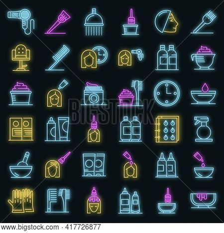 Hair Dye Icons Set. Outline Set Of Hair Dye Vector Icons Neon Color On Black