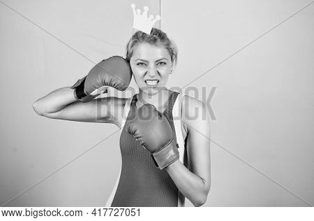 Celebrate Success. Victory Concept. Sport Success. Achieve Success. Queen Of Boxing Ring. Sportswoma
