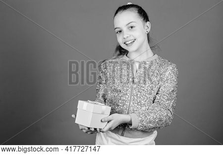 Girl With Gift Box Blue Background. Black Friday. Shopping Day. Cute Adorable Child Carry Gift Box.