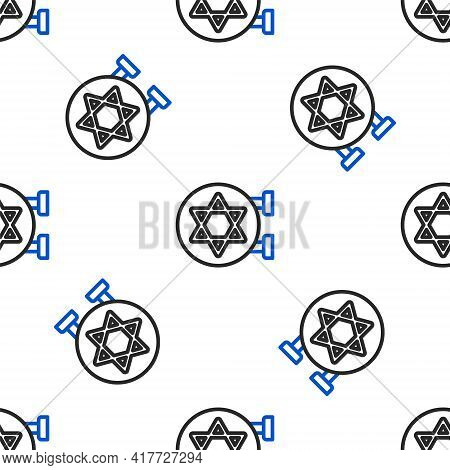 Line Jewish Synagogue Building Or Jewish Temple Icon Isolated Seamless Pattern On White Background.