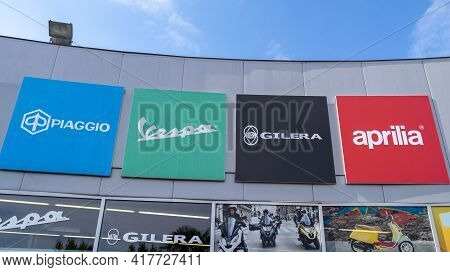 Bordeaux , Aquitaine France - 04 15 2021 : Piaggio Vespa And Gilera Aprilia Dealership Sign Text And