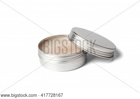 Metal Jar Of Cream Isolated On White Background. Aluminum Pot For Natural Cosmetic Product. Skin Car