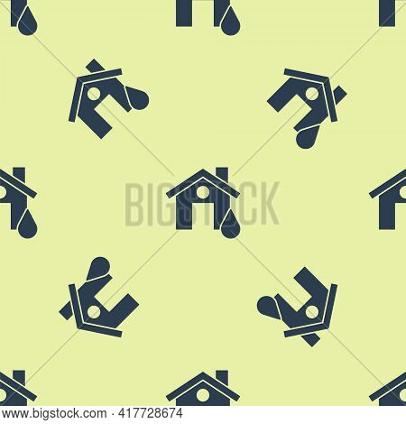 Blue House Flood Icon Isolated Seamless Pattern On Yellow Background. Home Flooding Under Water. Ins