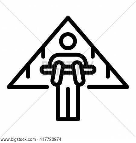 Plane Hang Glider Icon. Outline Plane Hang Glider Vector Icon For Web Design Isolated On White Backg