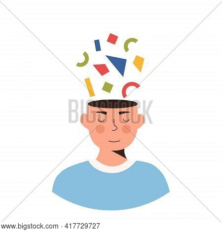 Person With Complicated Thoughts And Feelings. Character Thinking, Planning And Solving Problems Or