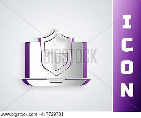 Paper Cut Laptop Protected With Shield Icon Isolated On Grey Background. Pc Security, Firewall Techn