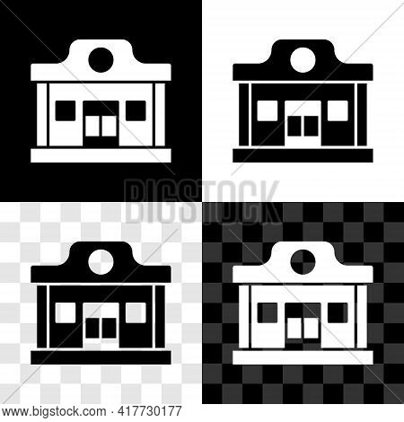Set Wild West Saloon Icon Isolated On Black And White, Transparent Background. Old West Building. Ve