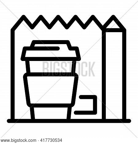 Takeaway Breakfast Icon. Outline Takeaway Breakfast Vector Icon For Web Design Isolated On White Bac