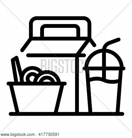 Fast Food Lunch Icon. Outline Fast Food Lunch Vector Icon For Web Design Isolated On White Backgroun