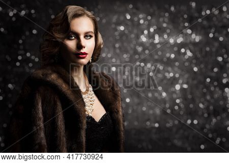Rich Woman In Fur Coat, Fashion Model Glamour Portrait, Old Fashioned Lady Well Dressed Over Dark Bo