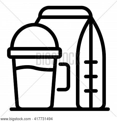 Food Shop Takeaway Icon. Outline Food Shop Takeaway Vector Icon For Web Design Isolated On White Bac