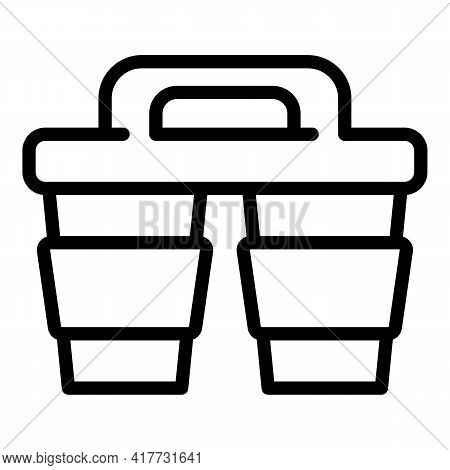 Takeaway Coffee Icon. Outline Takeaway Coffee Vector Icon For Web Design Isolated On White Backgroun