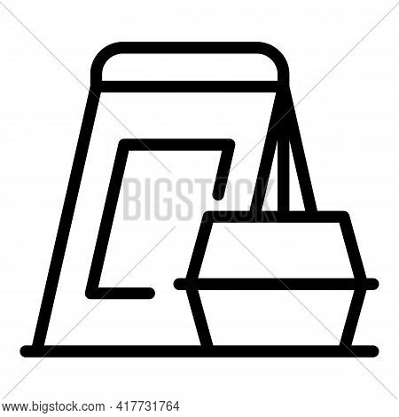 Takeaway Bag Icon. Outline Takeaway Bag Vector Icon For Web Design Isolated On White Background