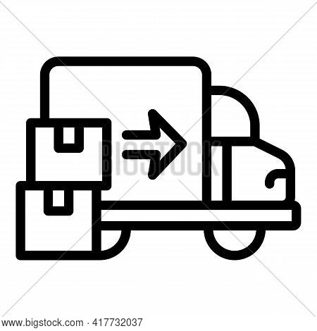 Tracking Delivery Van Icon. Outline Tracking Delivery Van Vector Icon For Web Design Isolated On Whi