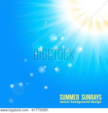 Sun With Sun Rays And Bokeh Blurs On Blue Background. Beautiful Sunny Banner With Sunburst Sunbeams.